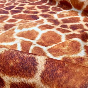 Giraffe Fabric Digital Animal Print Cotton Material - curtains, decor, dress, furnishing - Brown, Bronze & Cream Squares - 280cm extra wide