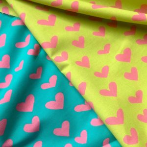 "HEART Print 100% Cotton Poplin Fabric Material Lightweight Cloth Dress, Bedding, Curtains - 280cm (110"") wide - Lime, Blue & Pink Hearts"