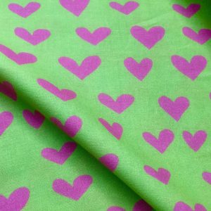 "HEART Print 100% Cotton Poplin Fabric Material Lightweight Cloth Dress, Bedding, Curtains - 280cm (110"") wide - Lime Green & Pink Hearts"