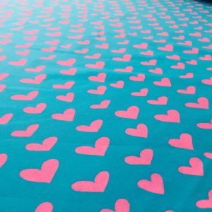 "HEART Print 100% Cotton Poplin Fabric Material Lightweight Cloth Dress, Bedding, Curtains - 280cm (110"") wide - Turquoise Blue & Pink Hearts"