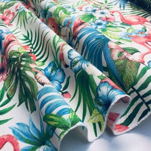 Pink Flamingo Bird Floral Fabric & Tropical Palm Leaf Garden Print Material - Curtains, Furnishing, Dress Making, Home Decor 55''/140cm wide