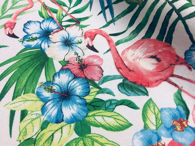 Designer Vintage Linen Look Flamingos Animal Print Curtain Upholstery Fabric