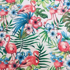 Pink Flamingo Bird Floral Fabric & Tropical Palm Leaf Garden Print Material - Curtains, Furnishing,Dress Making, Home Decor 280cm extra wide