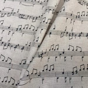 """Small Musical Notes Cotton Fabric Music Note Print Material - Home Decor Curtains Upholstery - 140cm (55"""") wide - Black & Cream Canvas"""