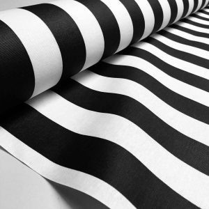 Teflon Waterproof Outdoor Fabric for cushion, gazebo, beach - 140cm wide, sold by metre - BLACK & White Stripe Material Stripes