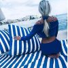 Teflon Waterproof Outdoor Fabric for cushion, gazebo, beach - 140cm wide, sold by metre-Blue,Red,Green,Yellow or Black&White Stripe Material