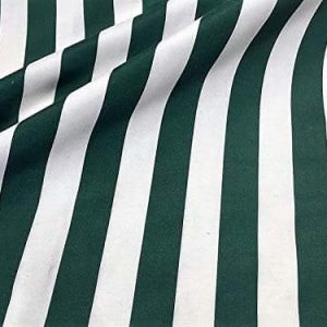 Teflon Waterproof Outdoor Fabric for cushion, gazebo, beach - 140cm wide, sold by metre - DARK GREEN & White Stripe Material Stripes