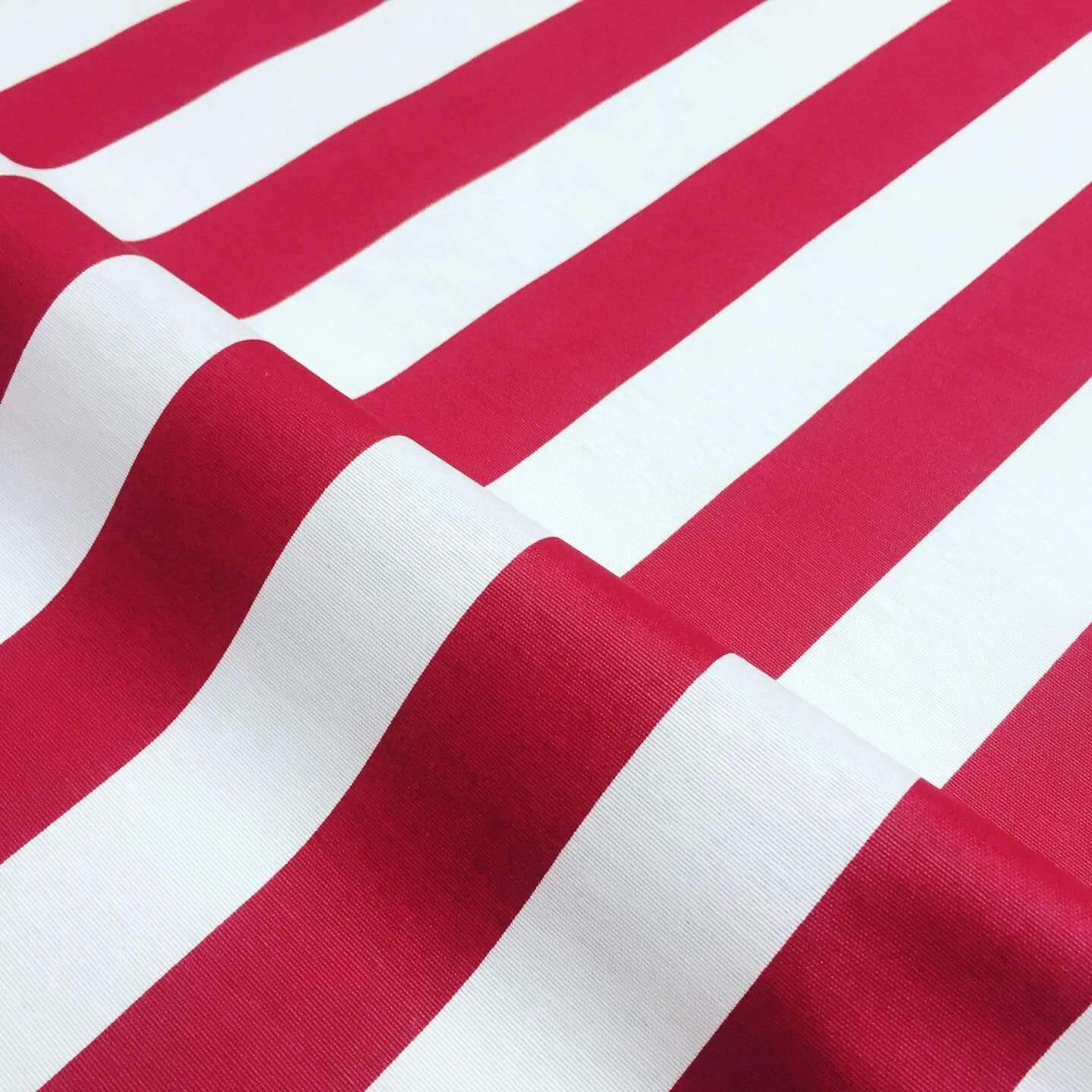 Teflon Waterproof Outdoor Fabric for cushion, gazebo, beach - 140cm wide, sold by metre -RED & White Stripe Material Stripes