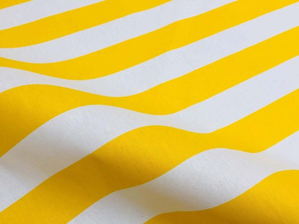 Teflon Waterproof Outdoor Fabric for cushion, gazebo, beach - 140cm wide, sold by metre - YELLOW & White Stripe Material Stripes