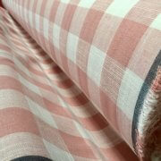 Gingham Linen Checked Linen Fabric Plaid Material Buffalo Check Cotton Yarn -dressmaking, curtains, curtains 140cm wide- Pink & White Checks