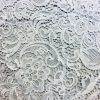 Scalloped Edge Lace Fabric French Floral Paisley Material - curtains, dress, wedding, bridal decoration - 120cm (46'') wide - White