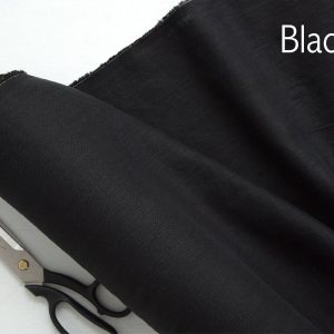 Soft Linen Fabric Material -  100% Linens Textile for Home Decor, Curtains, Clothes - 140cm wide - Plain BLACK