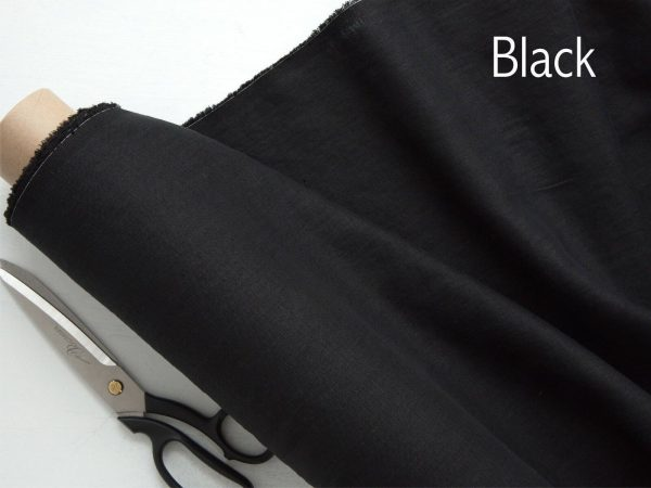Soft Linen Fabric Material -  100% Linens Textile for Home Decor, Curtains, Clothes - 140cm wide - Plain BLACK