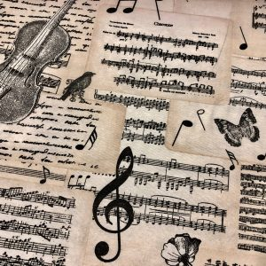 "Violin & Music Notes Fabric for Curtains Upholstery cotton material - 110""/280cm extra wide - Black and Cream musical note print canvas"