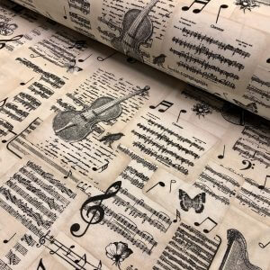 """Violin & Music Notes Fabric for Curtains Upholstery cotton material - 110""""/280cm extra wide - Black and Cream musical note print canvas"""