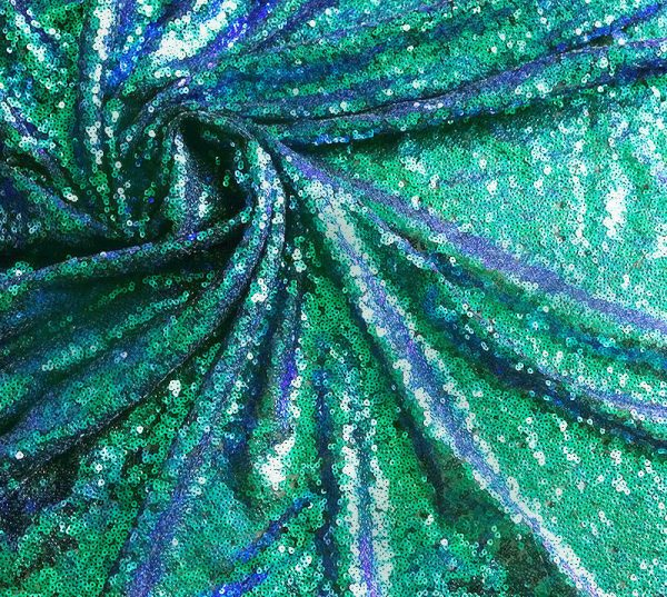 3mm Mermaid Tail Sequin Fabric - Sparkling Iridescent Green Purple Sequins Fish Scales - 47''/ 120cm wide
