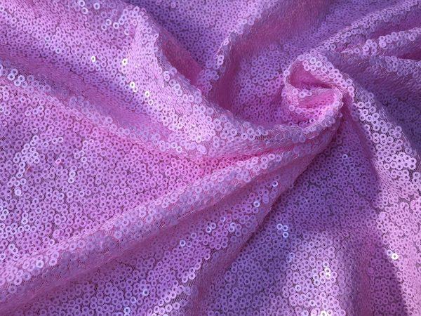 3mm Sequin Fabric material - Sparkling Glitter Sequins  - 47''/ 120cm wide - Matte Pink Paillettes