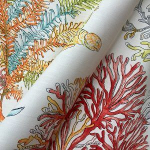 CORAL REEF Fabric for Curtain Upholstery - Cotton Material Sea Red Blue Corals - 280cm Extra Wide