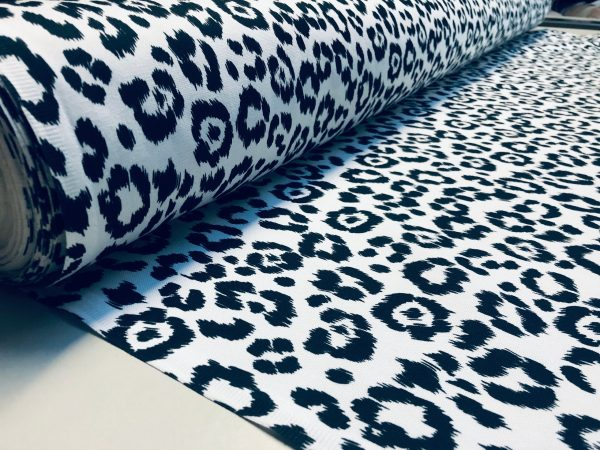 "Leopard Print Cotton Fabric for Curtains Upholstery / panther animal fur digital print material / 55"" wide"