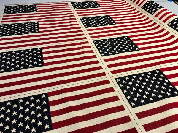 USA America Stars and Stripes Flag Retro Linen Look Heavy Jacquard Gobelin Upholstery Cotton Bag Cushion Panel Fabric - 23'' x 14''