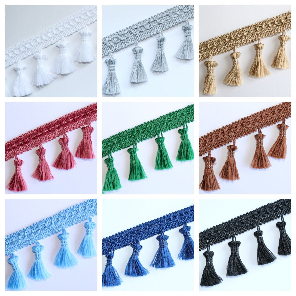 Fringe Tassel Trim Garland, Bobble Ribbon, Tape with Tassels for curtains fabric craft – 16 colours – any length
