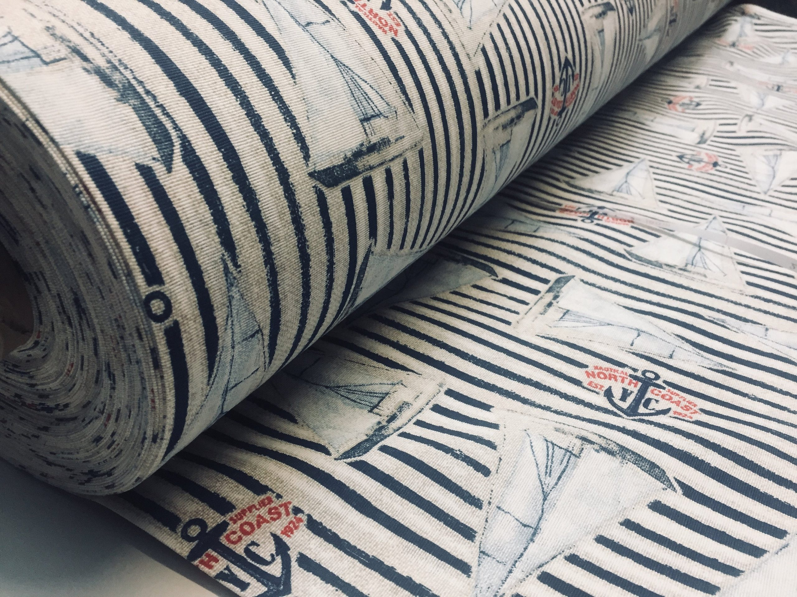 Sailboat Fabric Marine Stripe Nautical Curtain Yacht Boat Material – Curtain Upholstery Material – 280cm extra wide – Navy Blue Canvas