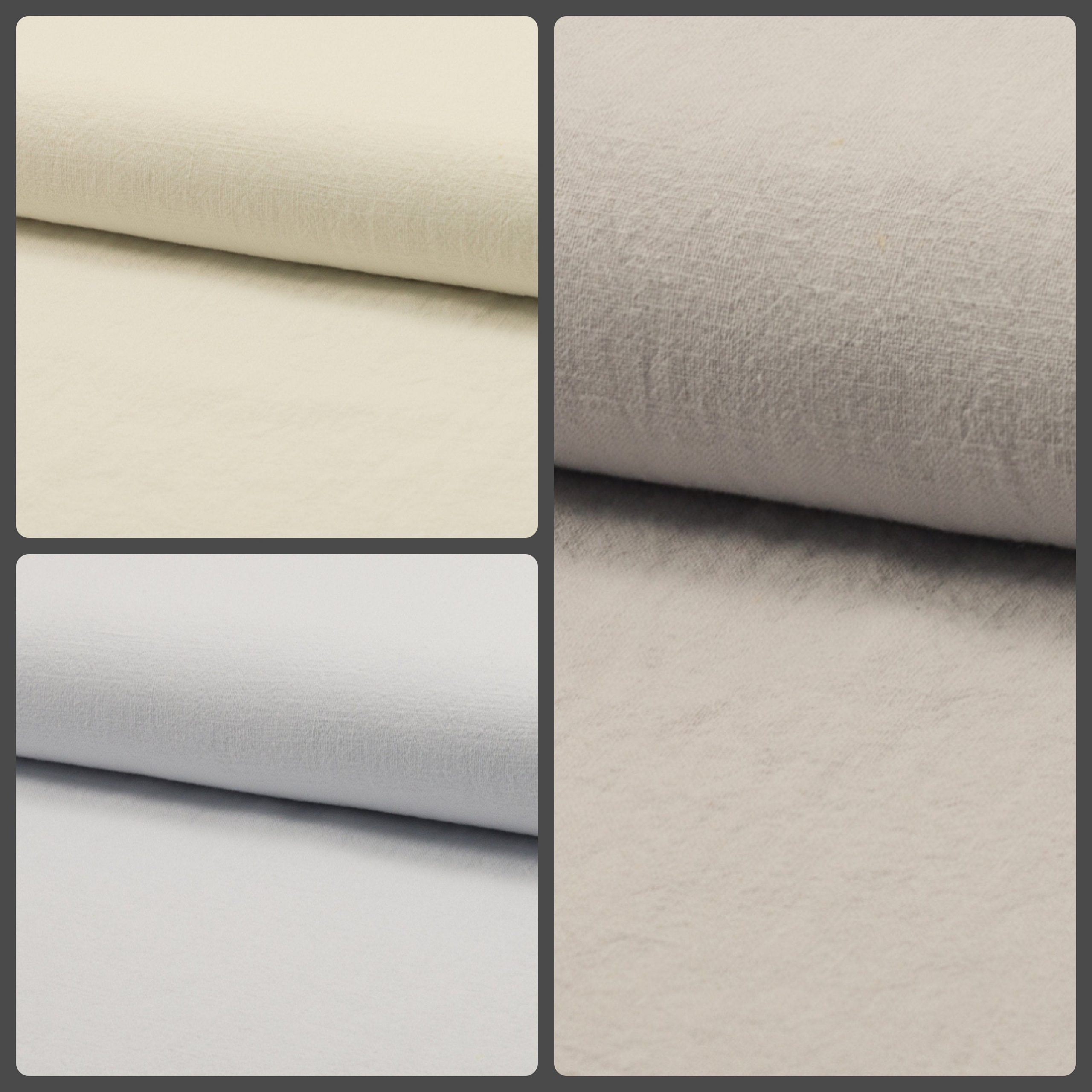 Stone Washed Pure Plain Linen Fabric Material – 100% Linens home decor bedding clothes curtains – 140cm wide – Cream, White, Silver Grey