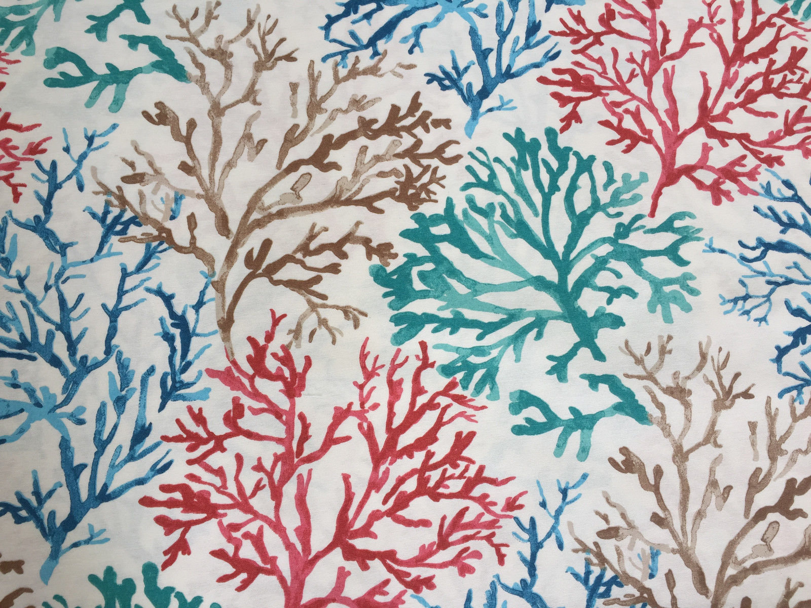 BLUE CORAL REEF Fabric Curtain Upholstery Cotton Material Sea Teal, Blue, Red Corals -140cm Wide