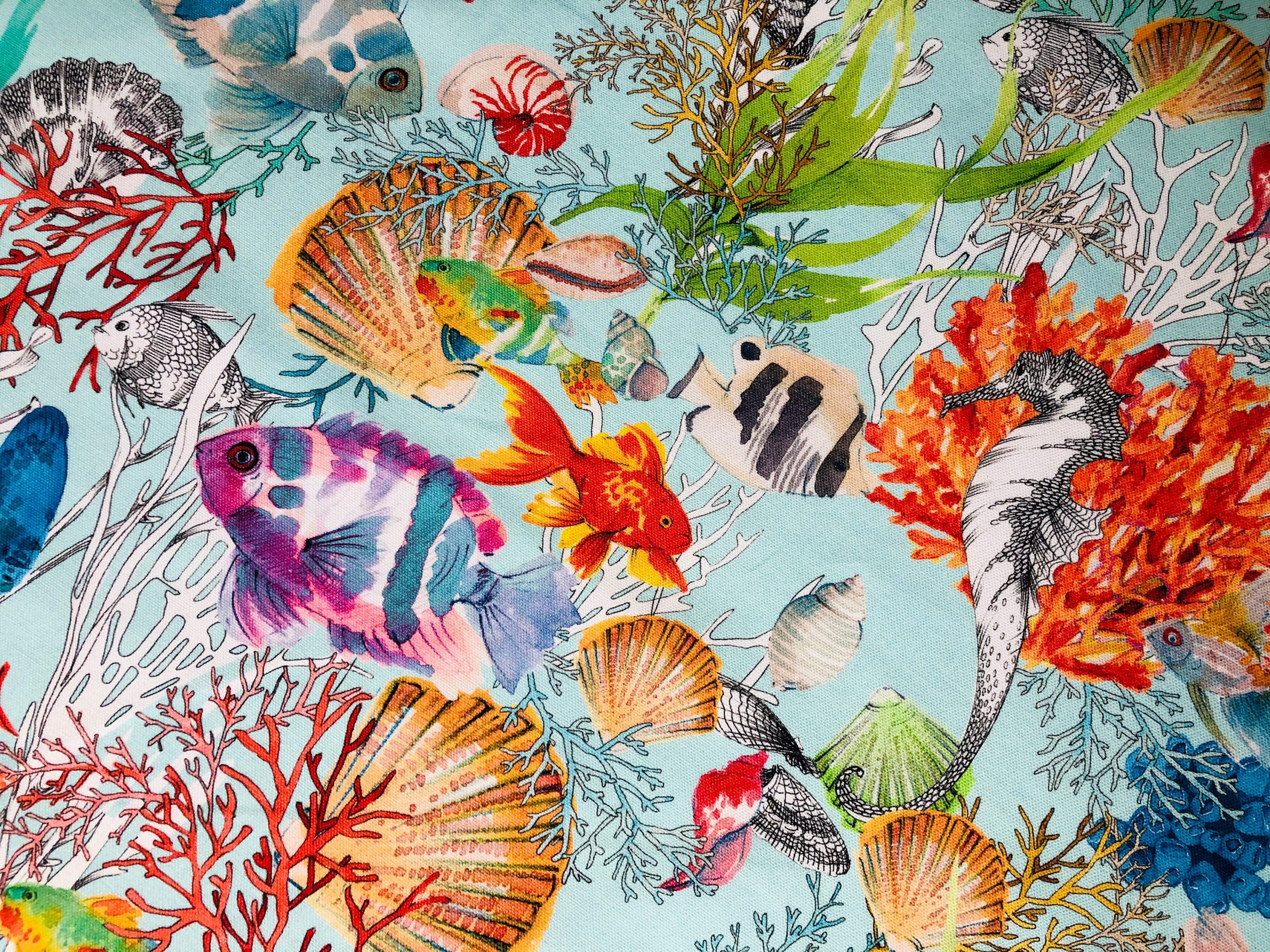 """Aqua Sea World Coral Reef Fabric Curtain Upholstery Cotton Material – Marine Teal Shell Red Corals -55""""/140cm Wide"""