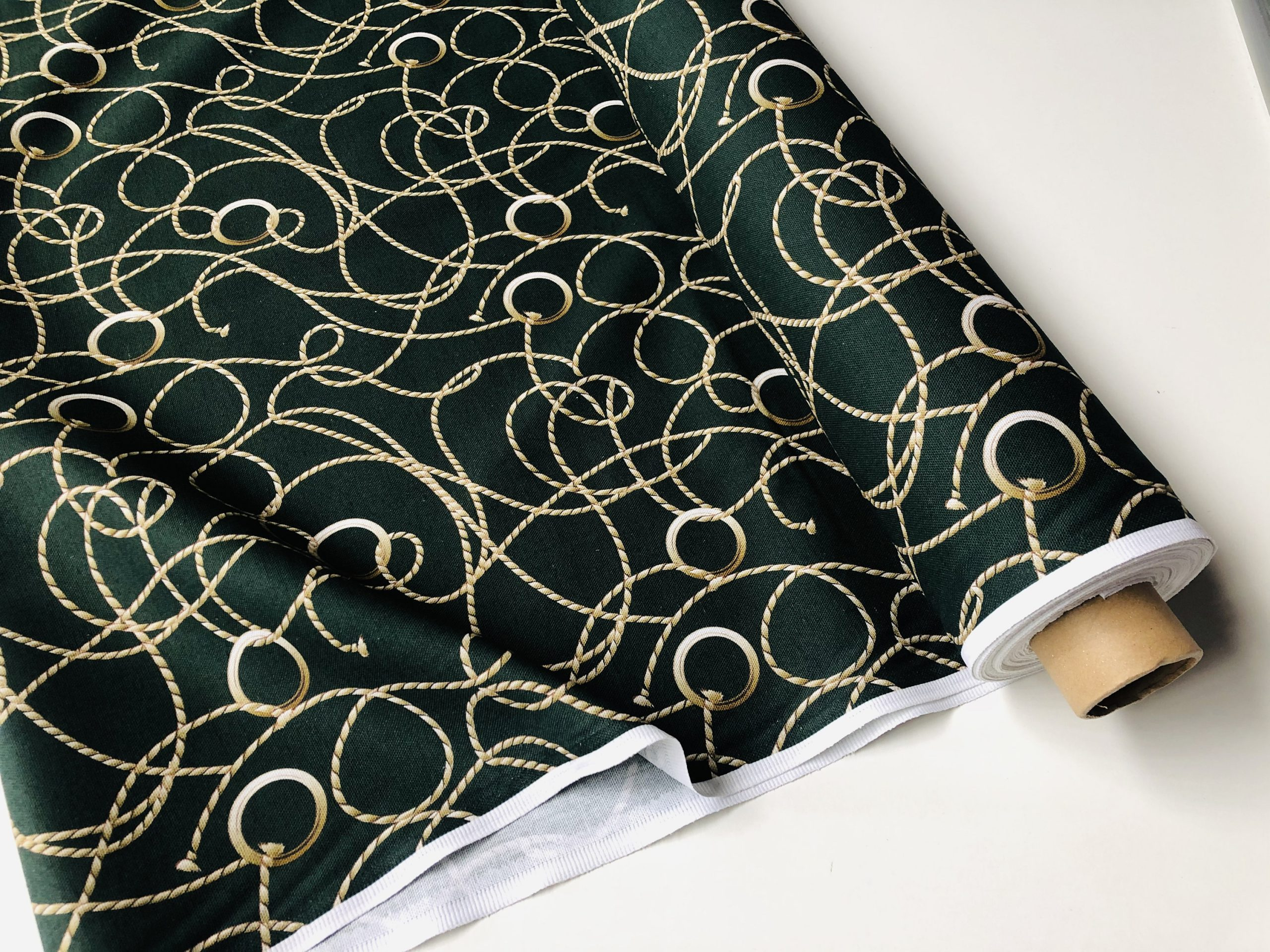 """Dark Green Golden Chain Fabric for Curtains Upholstery Dressmaking – Gold Rope Ring Jewellery Print 100% Cotton Material – 55""""/140cm wide"""