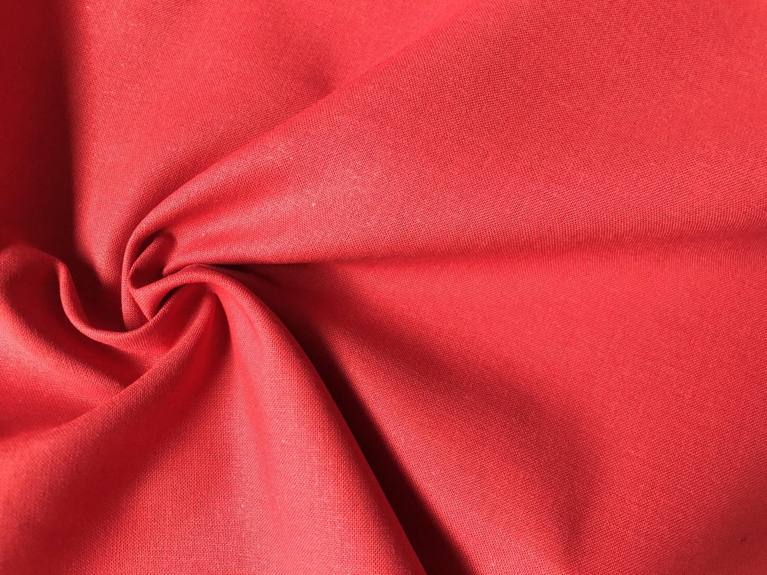 Plain 60SQ Cotton Fabric Material Red 100% Cotton for curtains, mask, scrubs – 150cm Wide – Pure Red