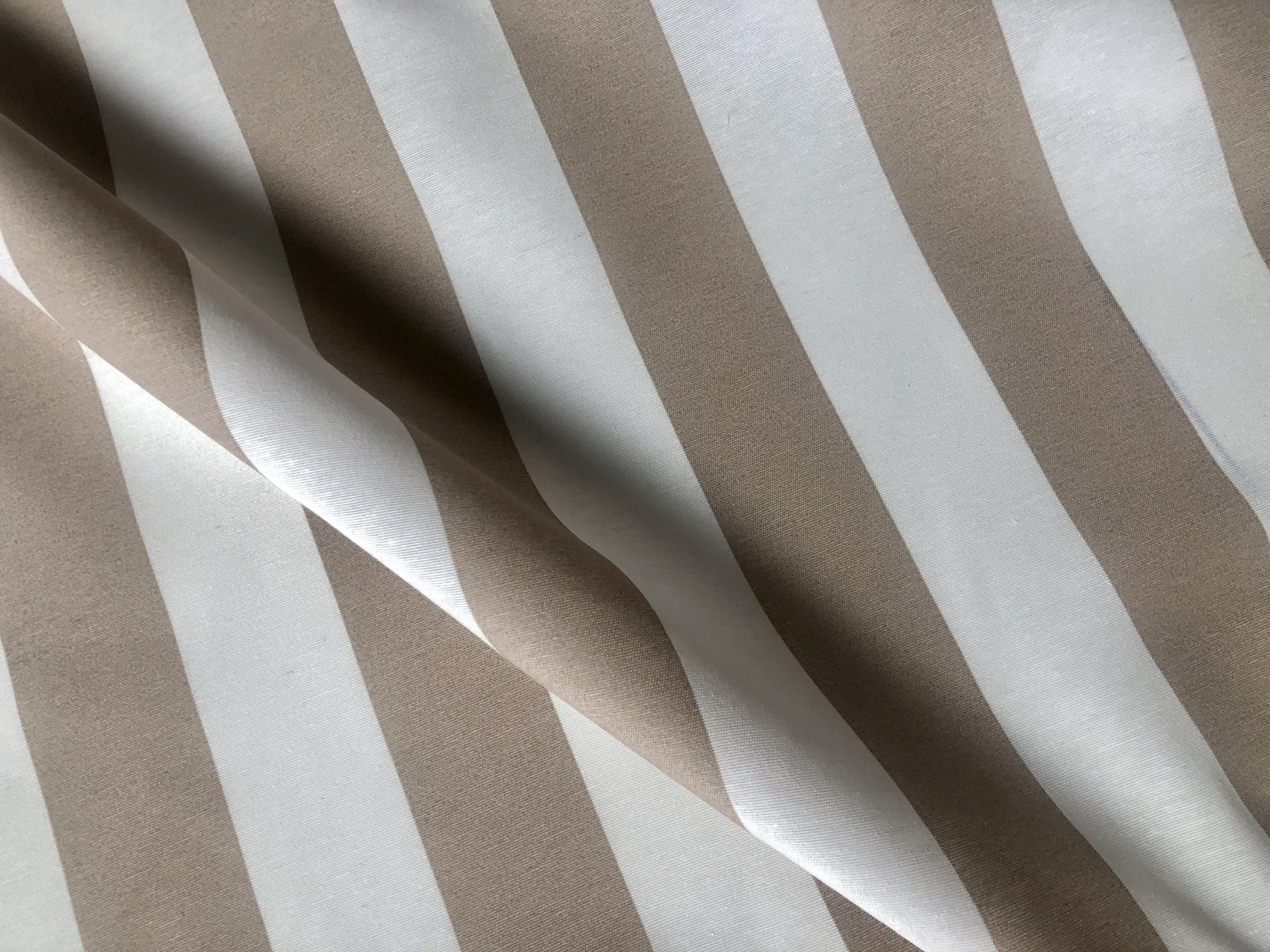 "BEIGE & White Stripe Teflon Waterproof Outdoor Fabric for cushion, gazebo, beach – 55""/140cm Wide"