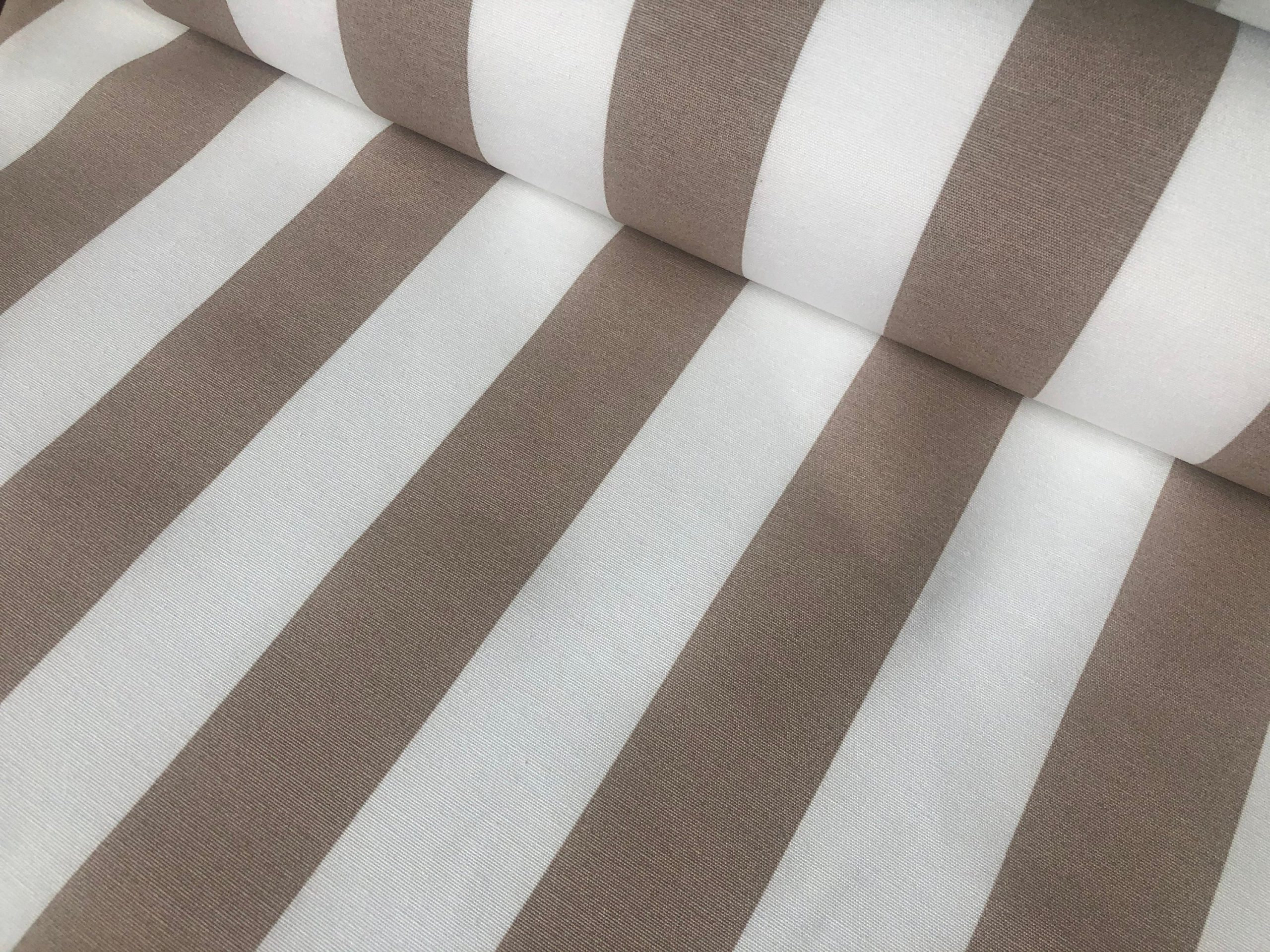 """Beige & White Striped Fabric – Sofia Stripes Curtain Tablecloth Upholstery Material – 110""""/280cm Wide Canvas"""