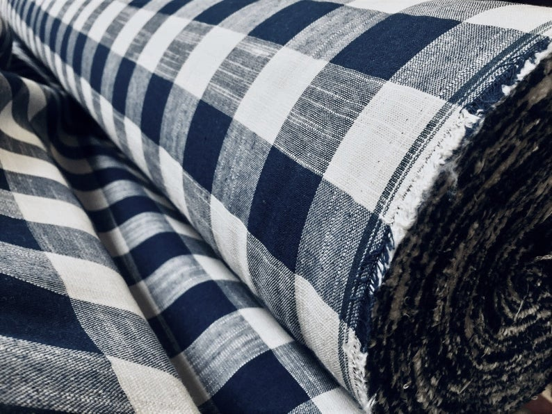 Navy & White Gingham Linen Checked Linen Fabric Plaid Material Buffalo Check Cotton Yarn – Dressmaking, Curtains, – 140 cm Wide