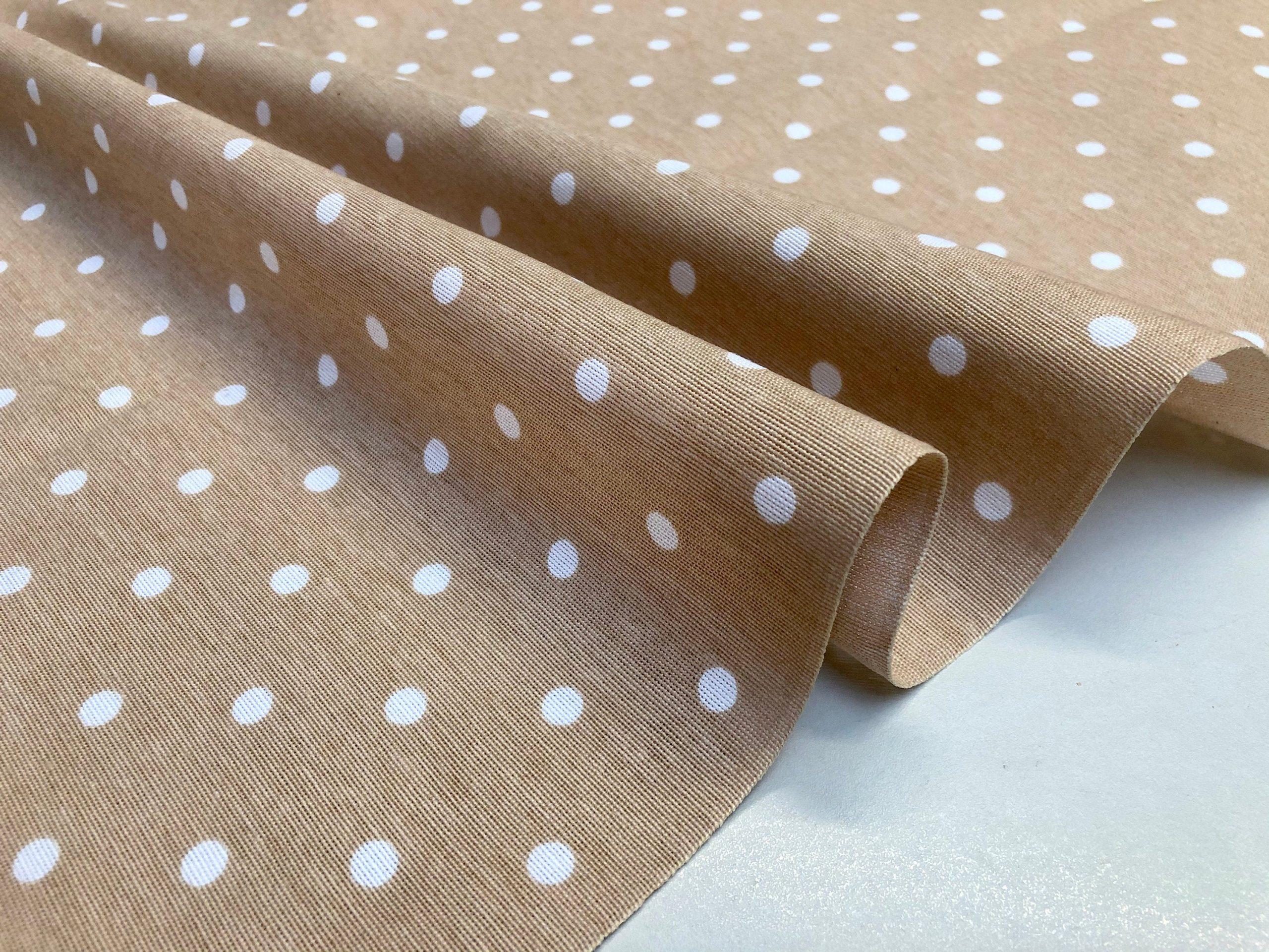 BEIGE Polka Dot Fabric White Spots Dots PolyCotton Material Classic Chic Textile Home Decor Dress Curtains – 55''/140cm Wide Canvas