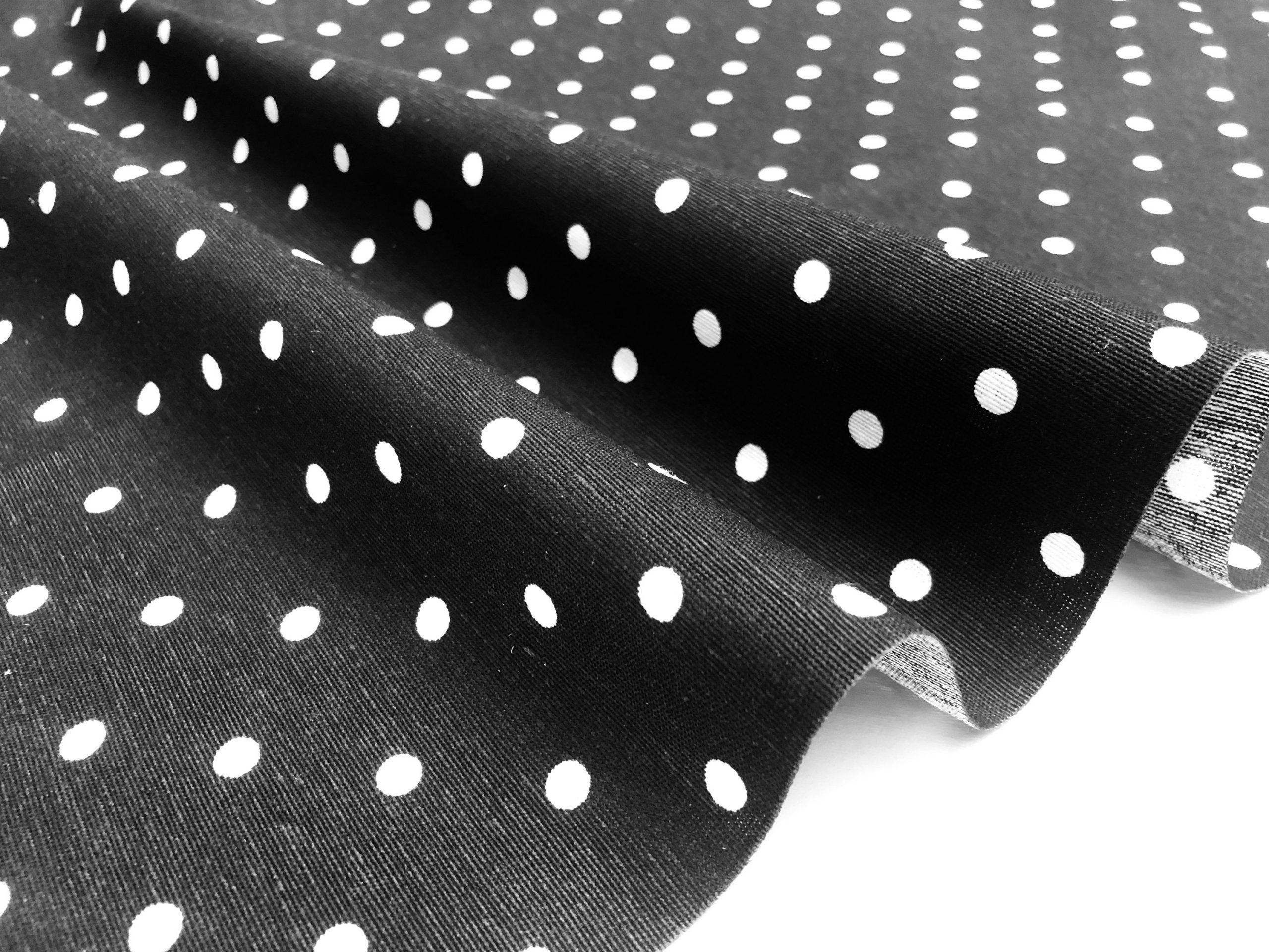 BLACK Polka Dot Fabric White Spots Dots PolyCotton Material Classic Chic Textile Home Decor Dress Curtains – 55''/140cm Wide Canvas