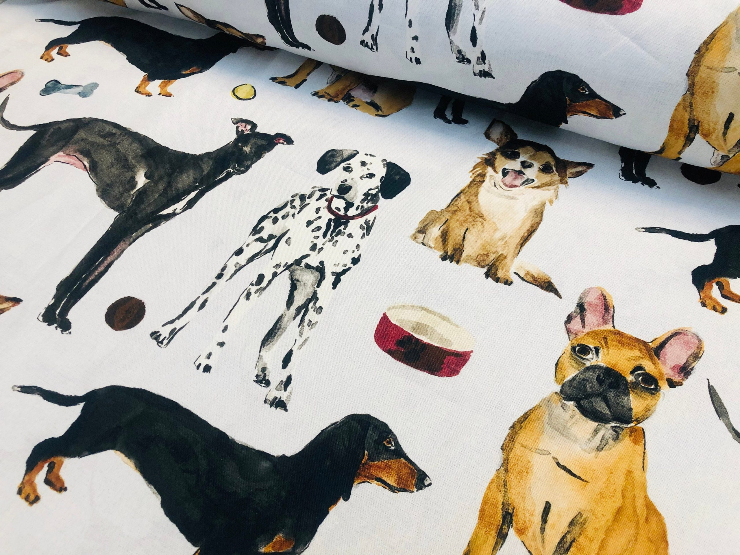 """DOG BREEDS Animal Print Pattern Fabric Cotton Pets Chihuahua French Bulldog Sausage Dogs Pet Upholstery Material 55""""/140cm Wide Canvas"""