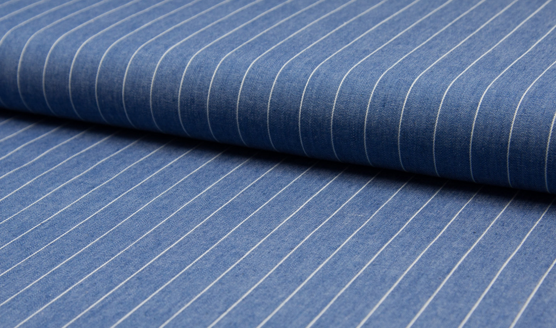 Light Blue – Denim Stripe Jacquard Cotton Summer Fabric Striped Dress Material Home Curtains 145-150 cm Wide
