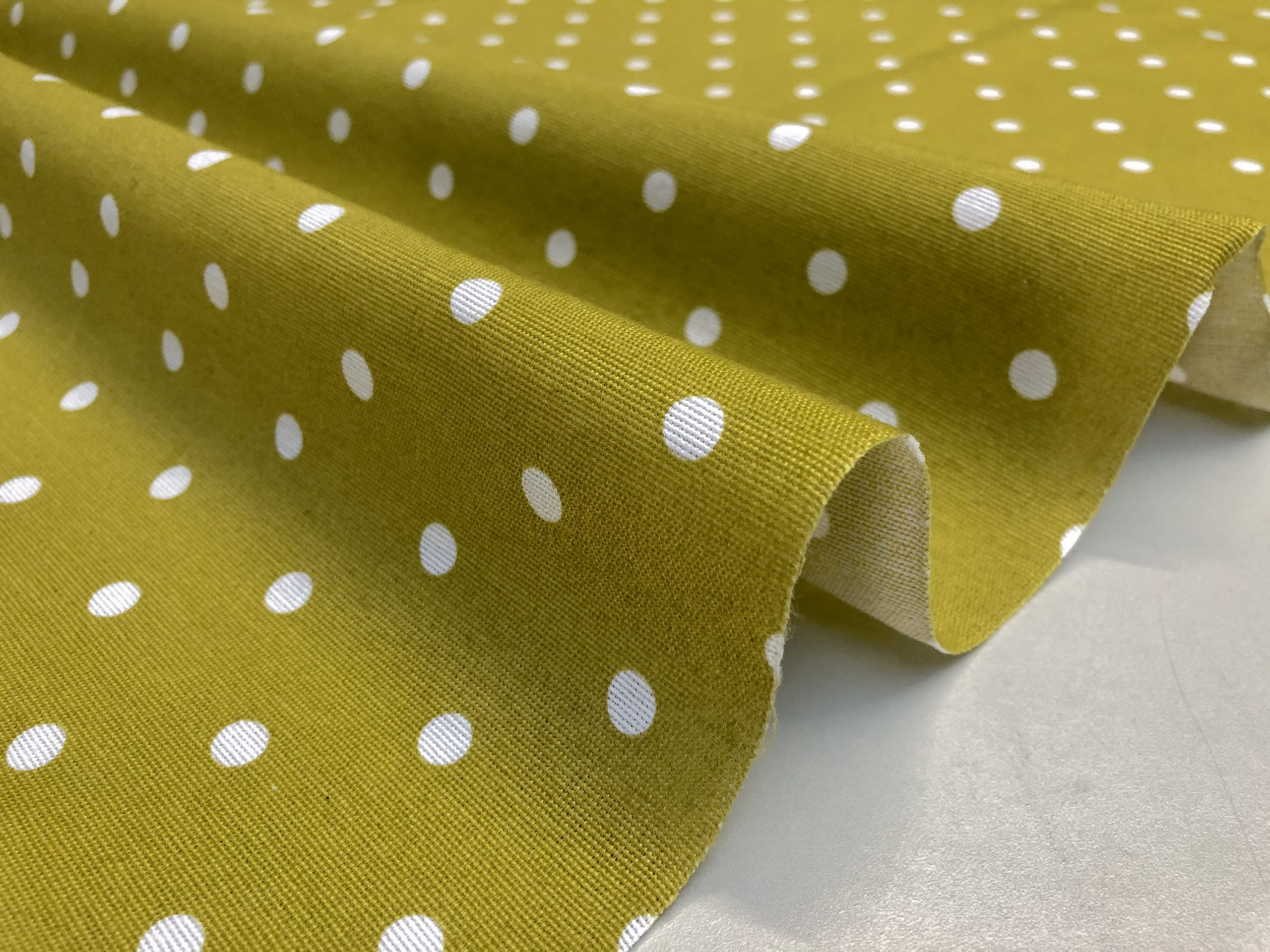 MUSTARD Polka Dot Fabric White Spots Dots PolyCotton Material Shabby Classic Chic Textile Home Decor Dress Curtains – 55''/140cm Wide Canvas
