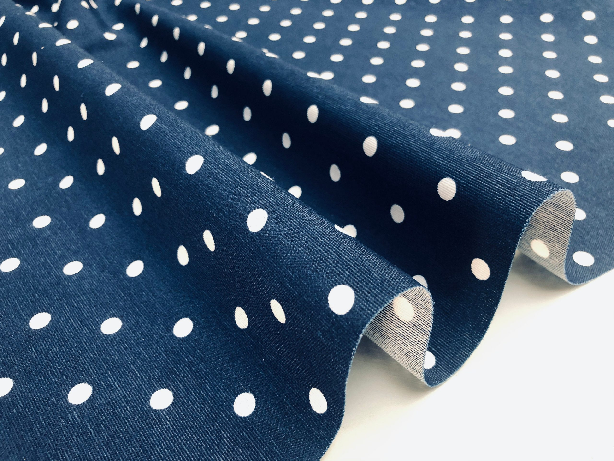 NAVY BLUE Polka Dot Fabric White Spots Dots PolyCotton Material Classic Chic Textile Home Decor Dress Curtains – 55''/140cm Wide Canvas