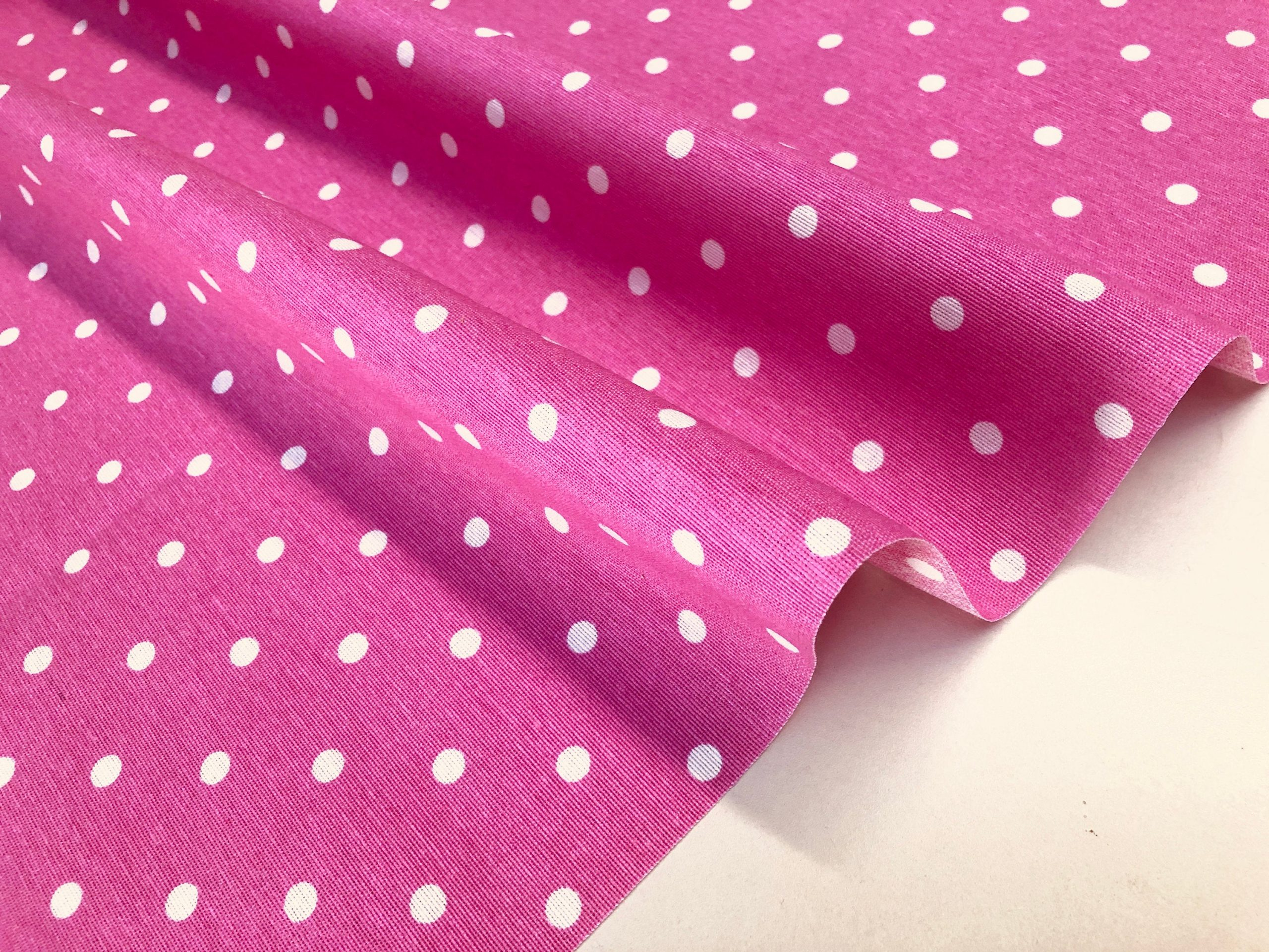 PINK Polka Dot Fabric White Spots Dots PolyCotton Material Classic Chic Textile Home Decor Dress Curtains – 55''/140cm Wide Canvas