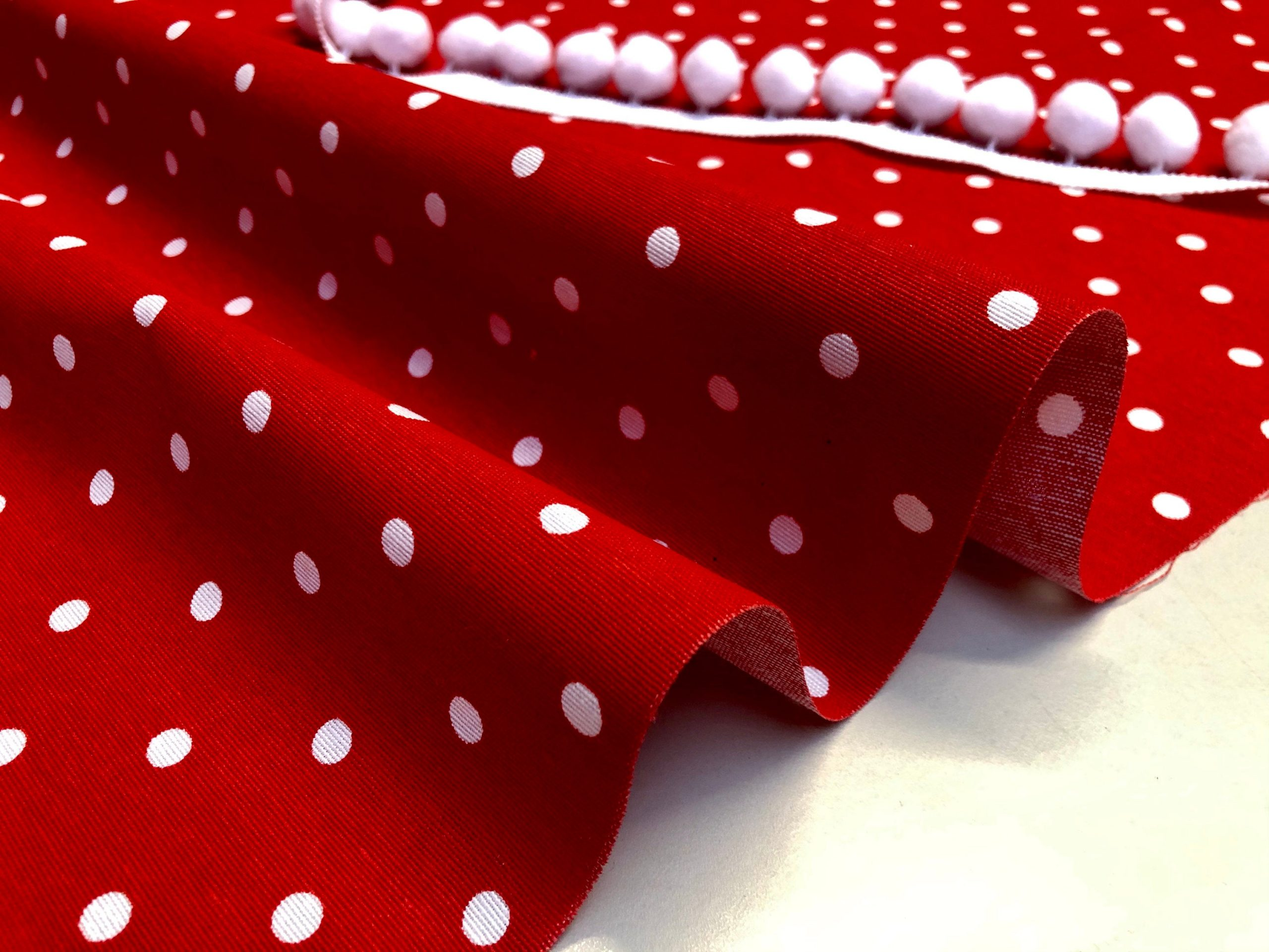 RED Polka Dot Fabric White Spots Dots PolyCotton Material Classic Chic Textile Home Decor Dress Curtains – 55''/140cm Wide Canvas