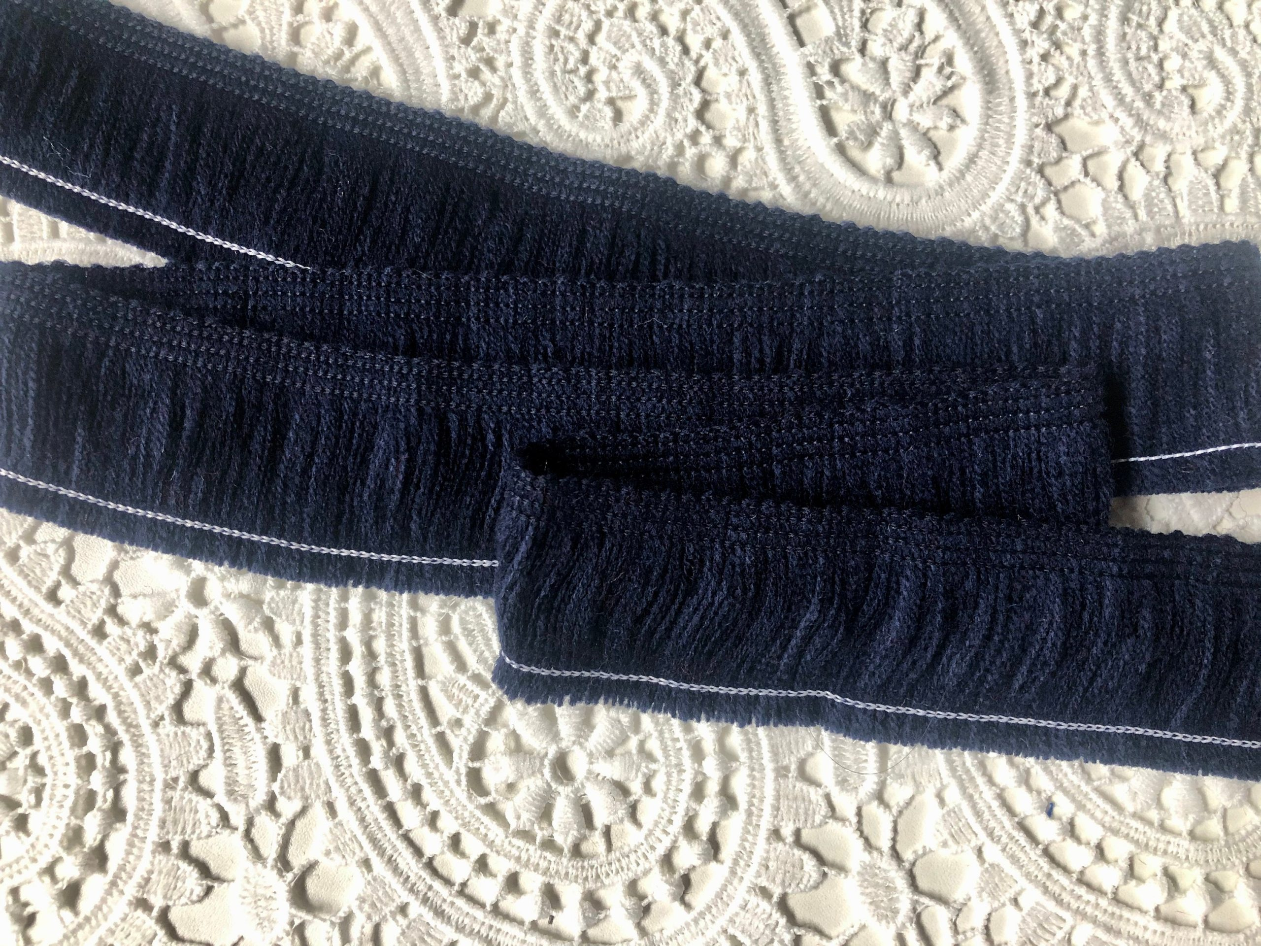 NAVY BLUE – Brush Fringe Tassels Textile Cut Pillow Trimming, Piping, Cushion Trim, Curtains, Home Decor – 40mm Wide – Any LENGTH