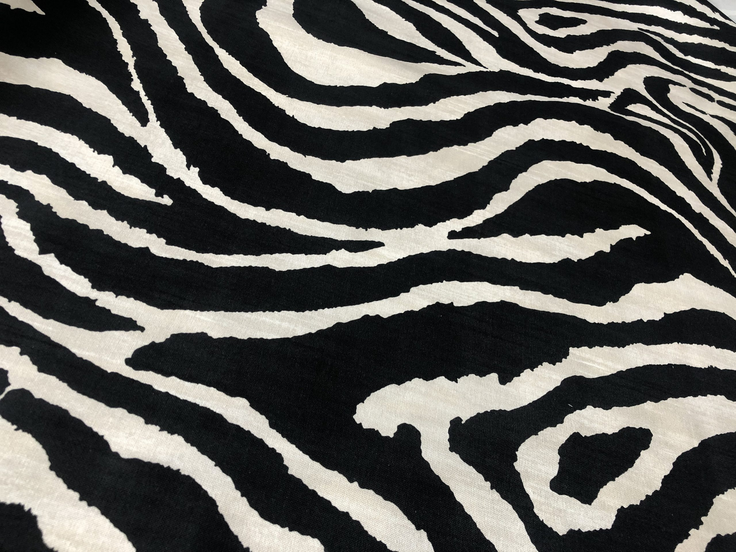 "BLACK & CREAM Zebra Stripes African Print Linen Look Cotton Fabric Furnishing Curtain Upholstery Material – 54""/138cm Wide Canvas"
