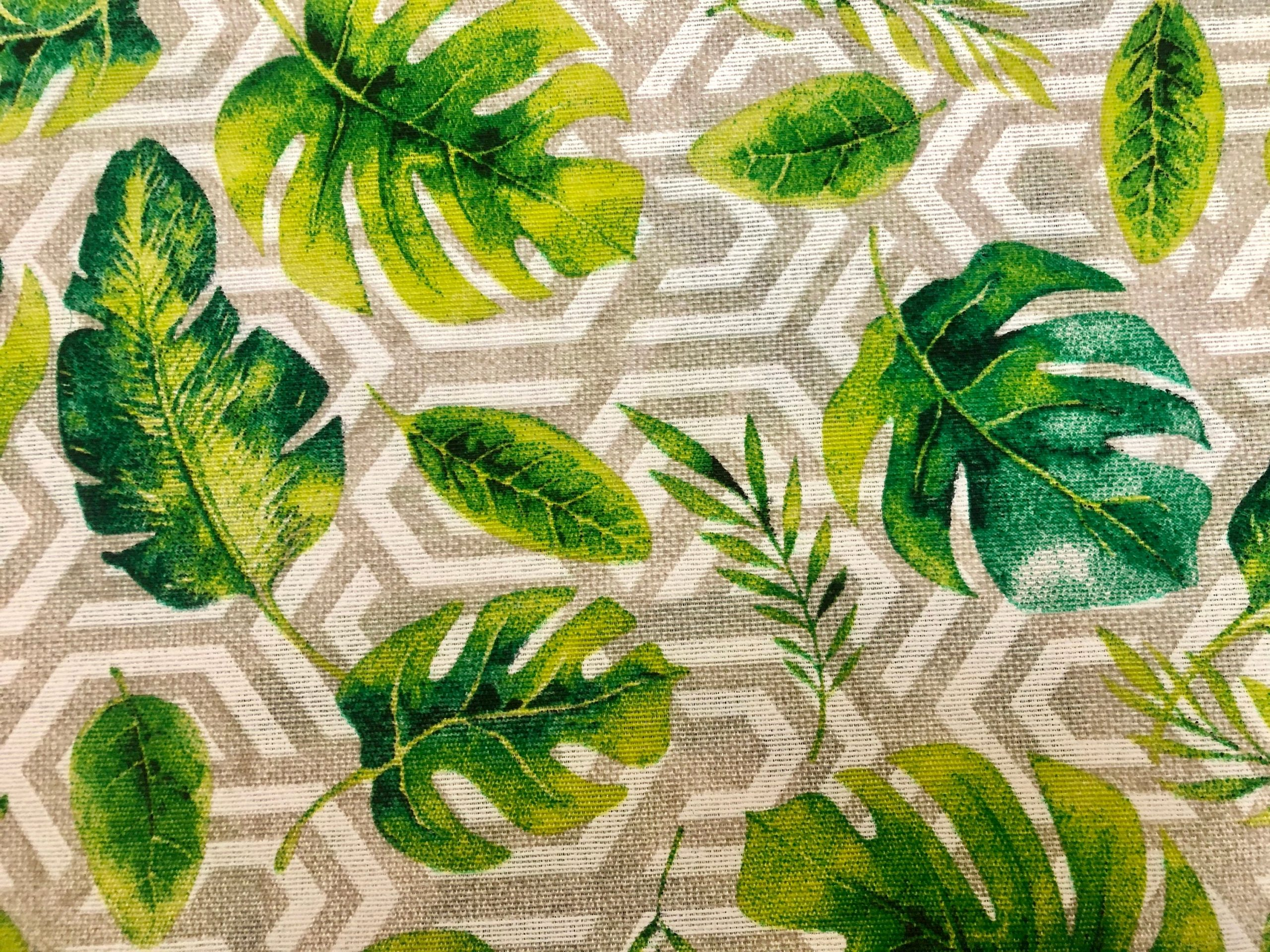 """Geometric Palm Leaf Fabric Banana leaves Print Cotton Curtain Rhombus Upholstery Material Beige & Green – 110""""/280cm extra wide Canvas"""