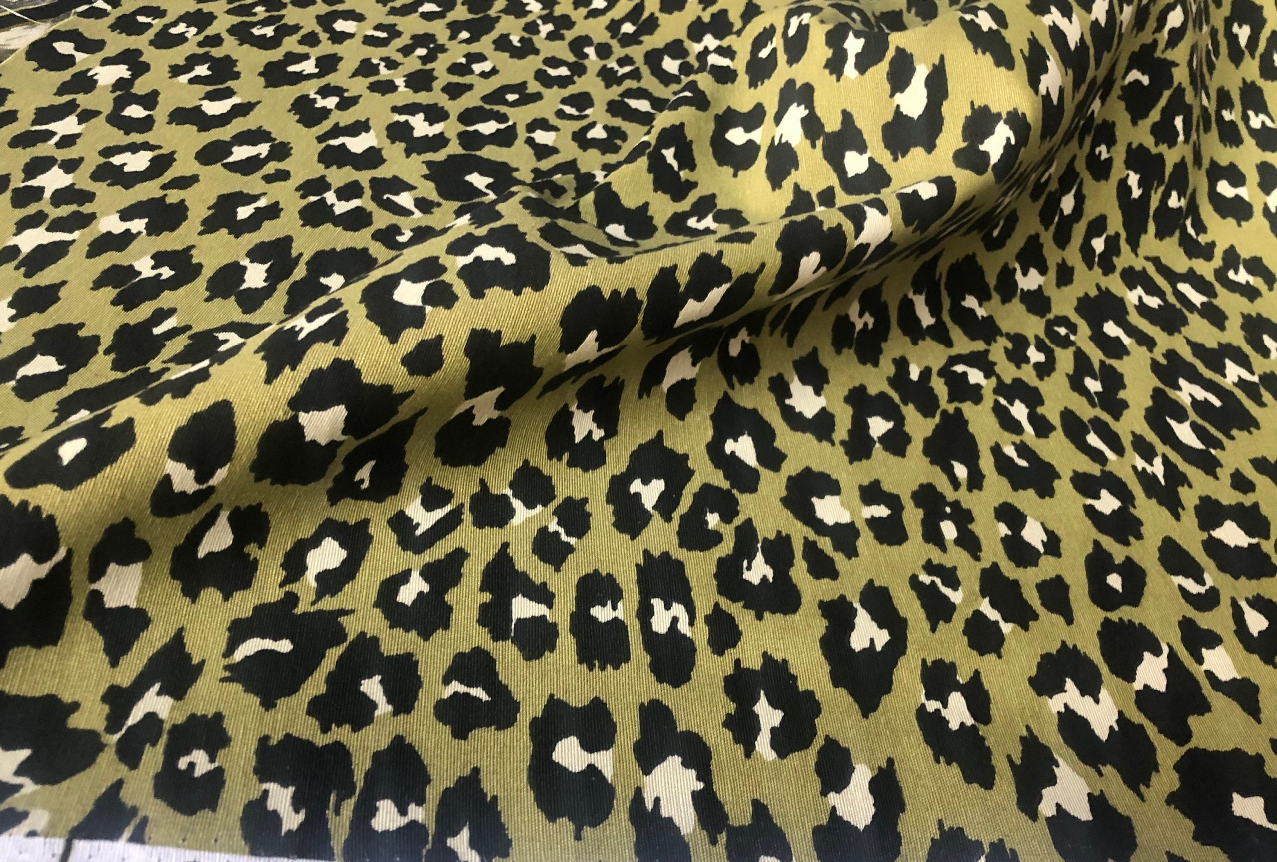 """Green & Black Leopard Animal Fur Print Fabric Cotton Curtain Upholstery Material – 110""""/280cm extra wide"""