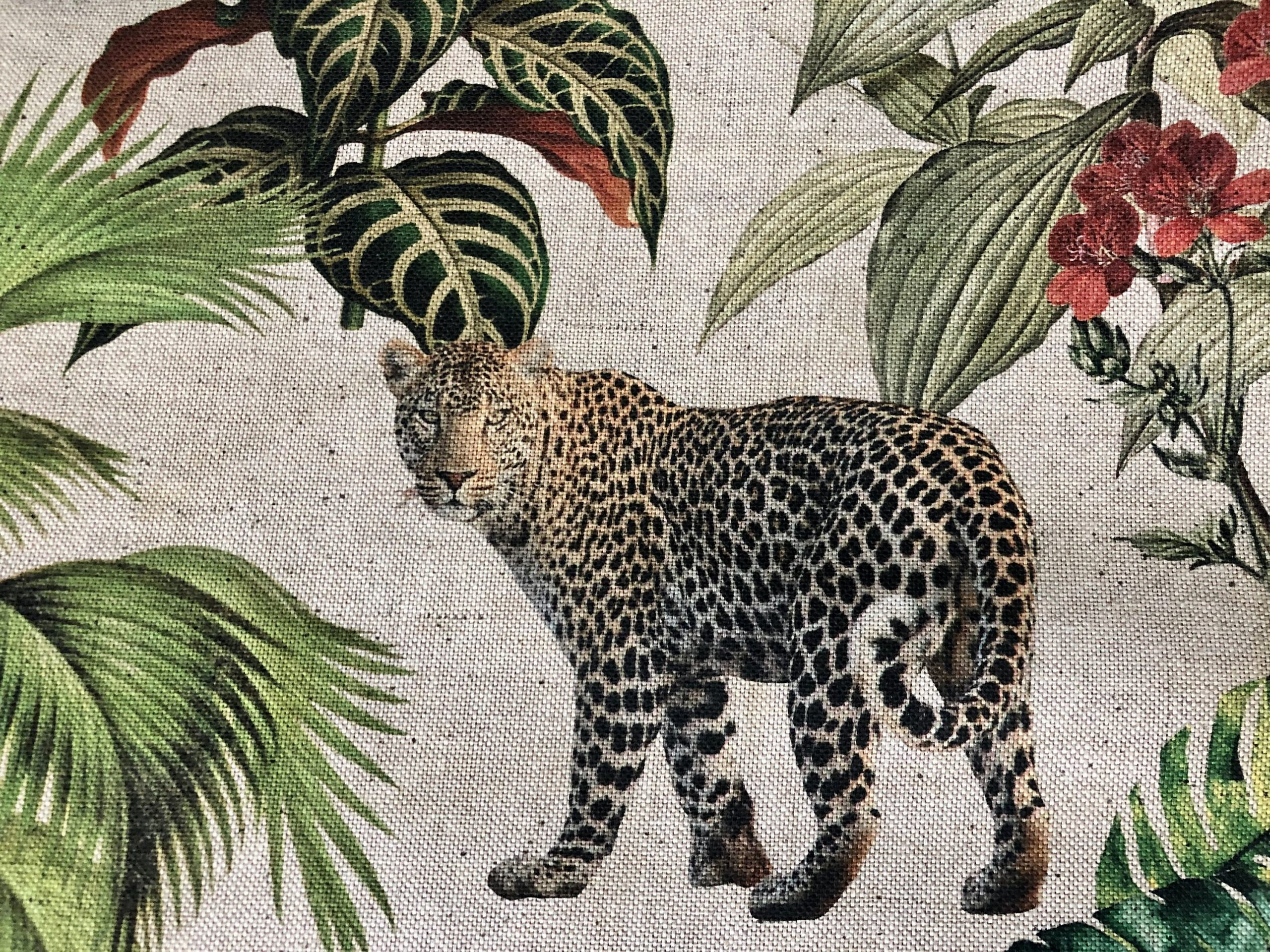 """Safari Zoo African Animal Digital Print Fabric Tropical Jungle Palm Flower Leaf Material Linen Look  – 108""""/275cm extra wide Canvas"""