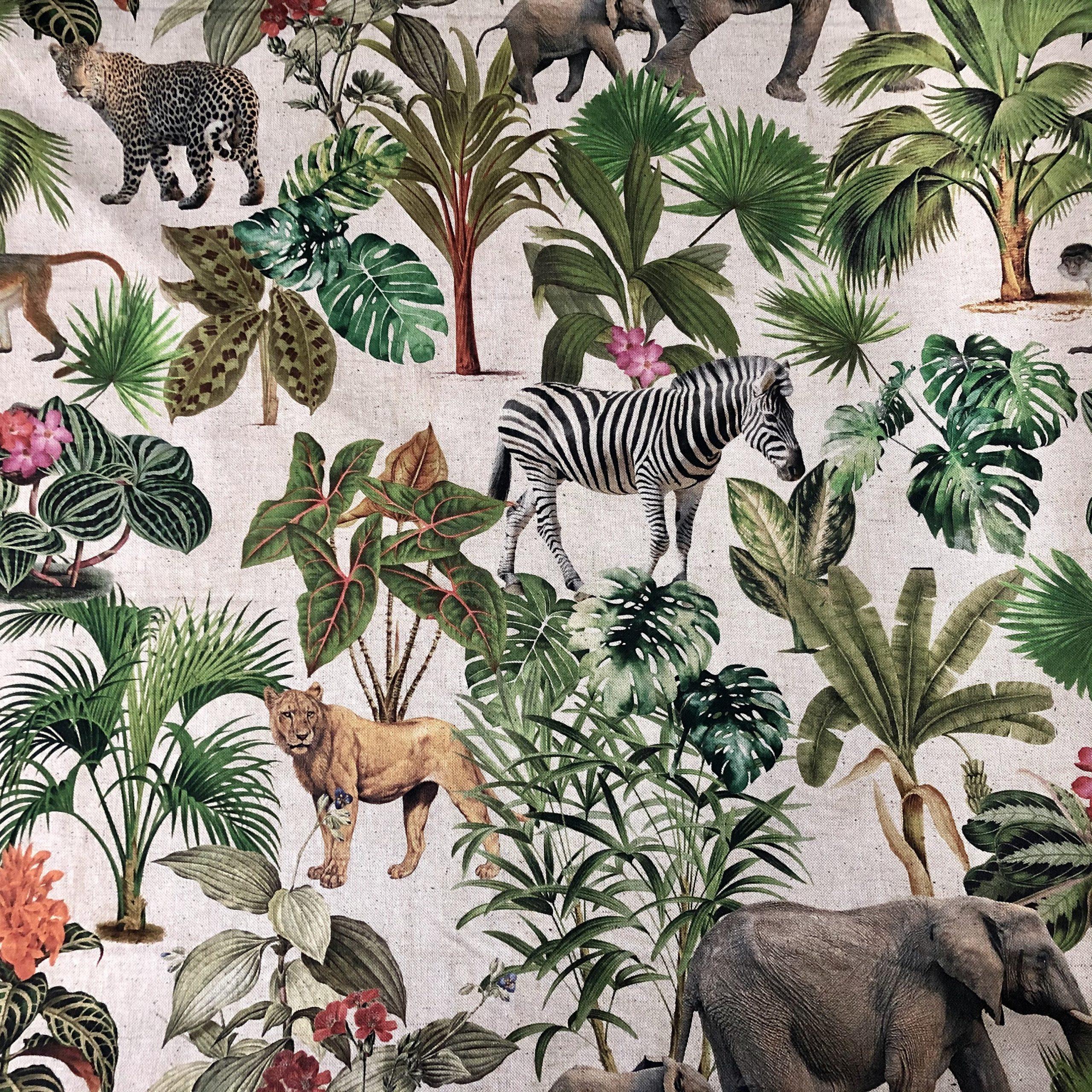 "Safari Zoo African Animal Digital Print Fabric Tropical Jungle Palm Flower Leaf Material Linen Look  – 54""/138cm wide Canvas"