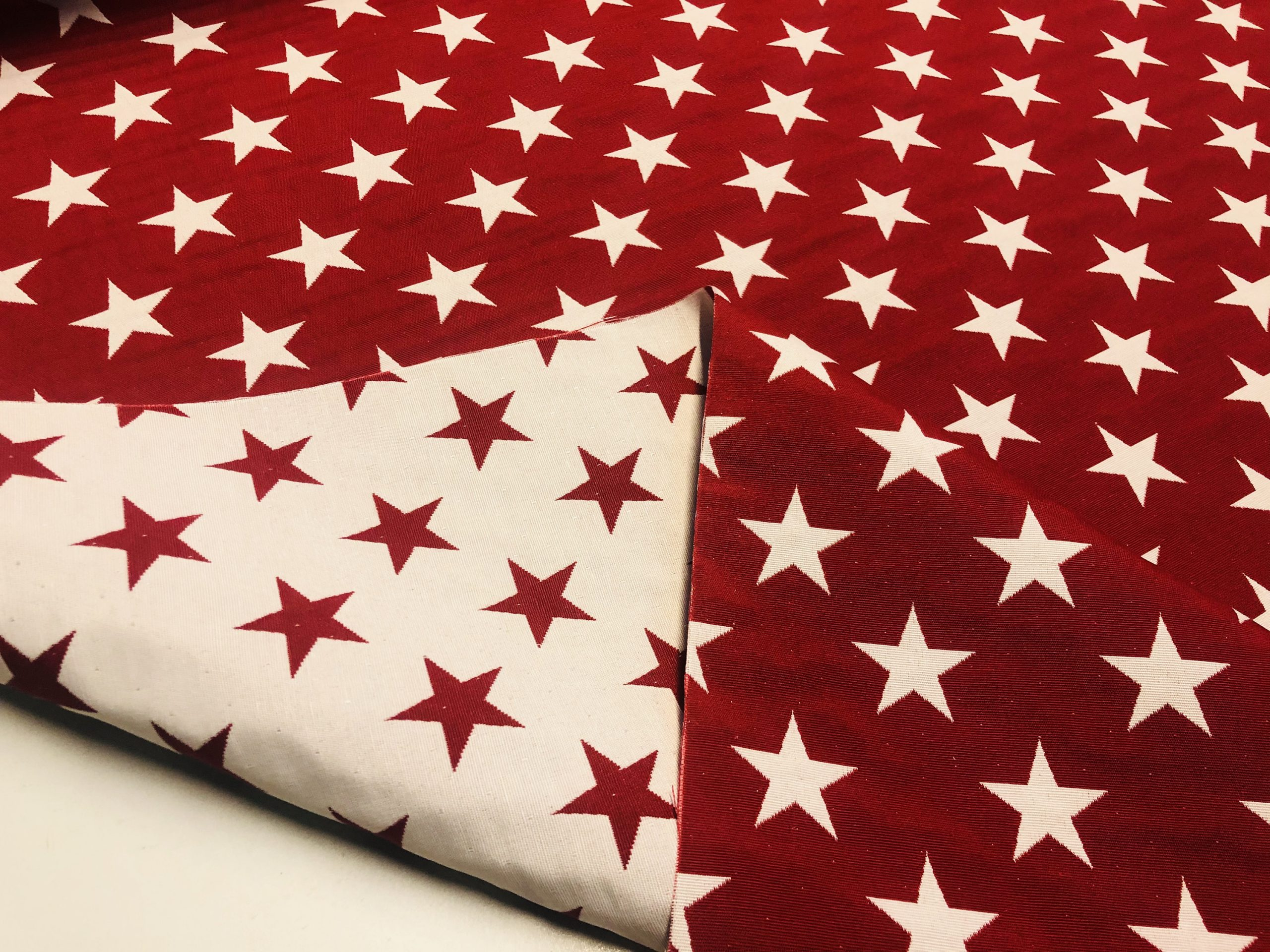 """Christmas Stars Jacquard Double Face Gobelin Fabric Material for Curtains Home Decor Upholstery – 55""""/140cm Wide – RED & WHITE"""