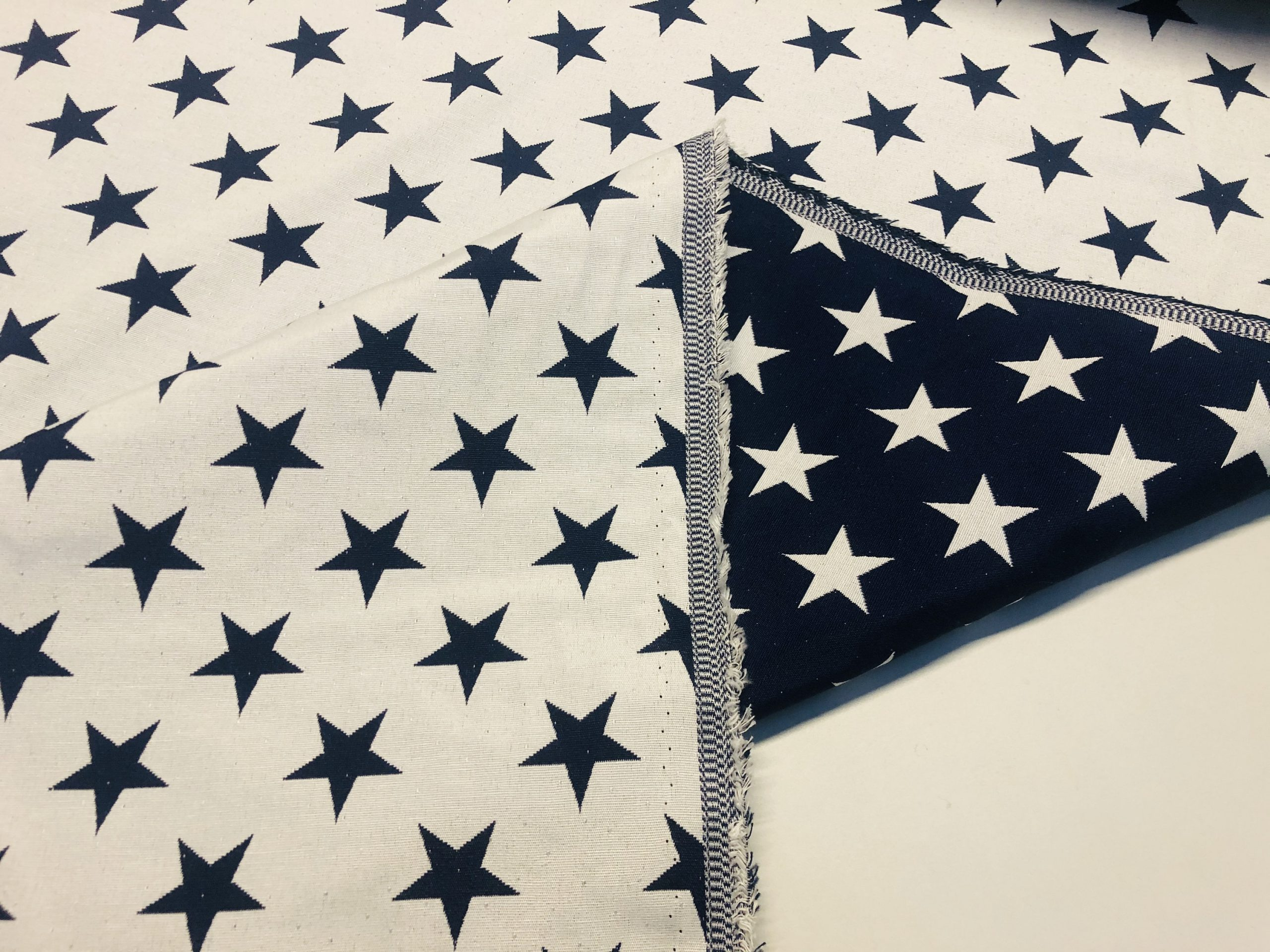 """Christmas Stars Jacquard Double Face Gobelin Fabric Material for Curtains Home Decor Upholstery – 55""""/140cm Wide – WHITE & NAVY BLUE"""